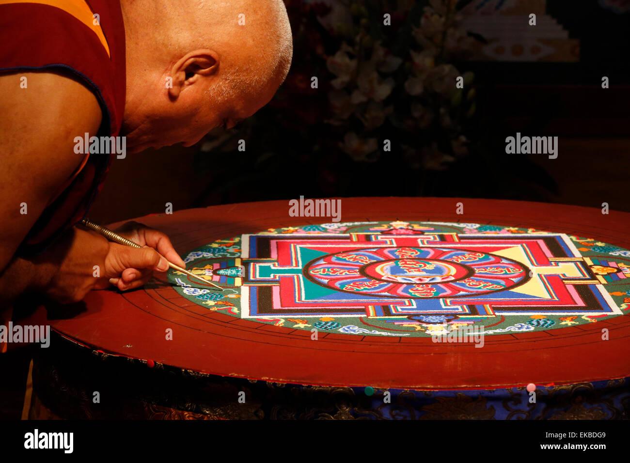 Buddhist sand Mandala, a spiritual and ritual symbol representing the Universe, Paris, France, Europe - Stock Image