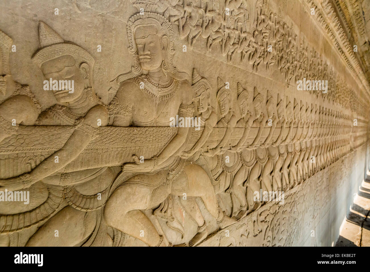 Bas-relief carvings from the Churning of the Sea of Milk myth, Angkor Wat, Angkor, UNESCO, Siem Reap, Cambodia, - Stock Image