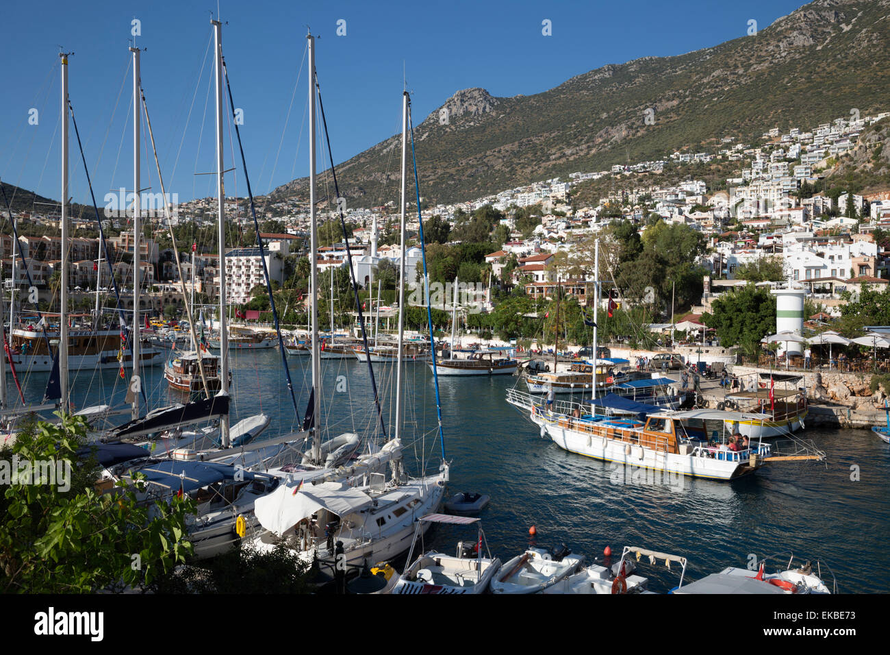 Gulets in harbour, Kalkan, Lycia, Antalya Province, Mediterranean Coast, Southwest Turkey, Turkey, Asia Minor, Eurasia - Stock Image