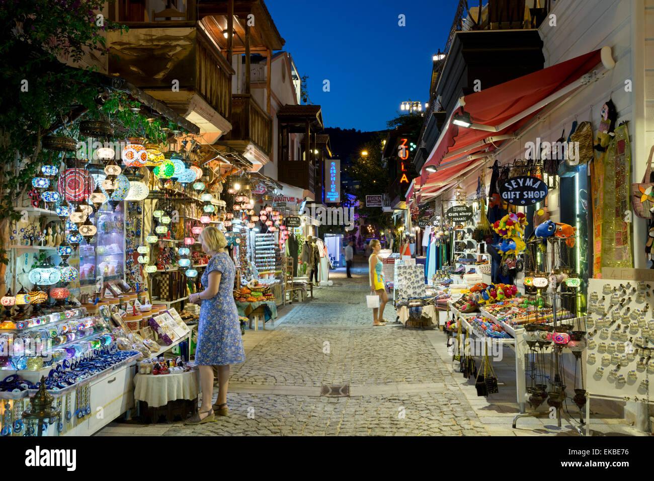 Gift shops at night in the old town, Kalkan, Lycia, Antalya Province Coast, Southwest Turkey, Turkey, Asia Minor, - Stock Image