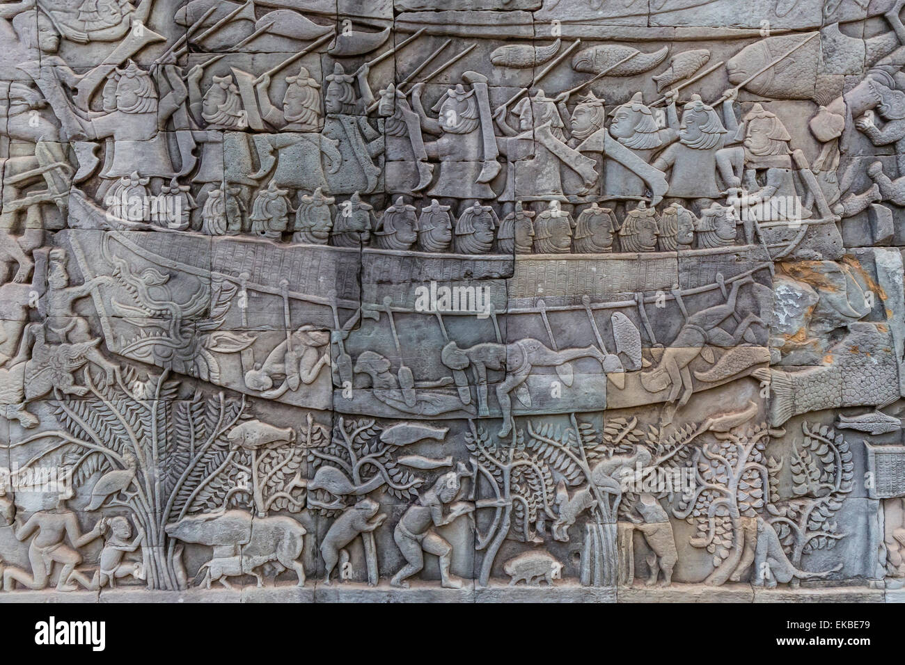 Bas-relief carvings in Prasat Bayon, Angkor Thom, Angkor, UNESCO, Siem Reap, Cambodia, Indochina, Southeast Asia, - Stock Image