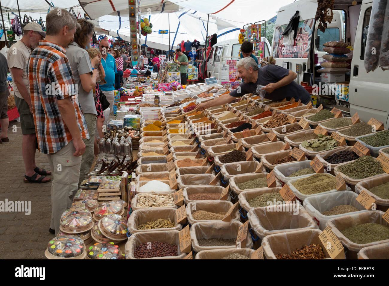 Spice stall at the Thursday Market, Kalkan, Lycia, Antalya Province Coast, Southwest Turkey, Turkey, Asia Minor, - Stock Image