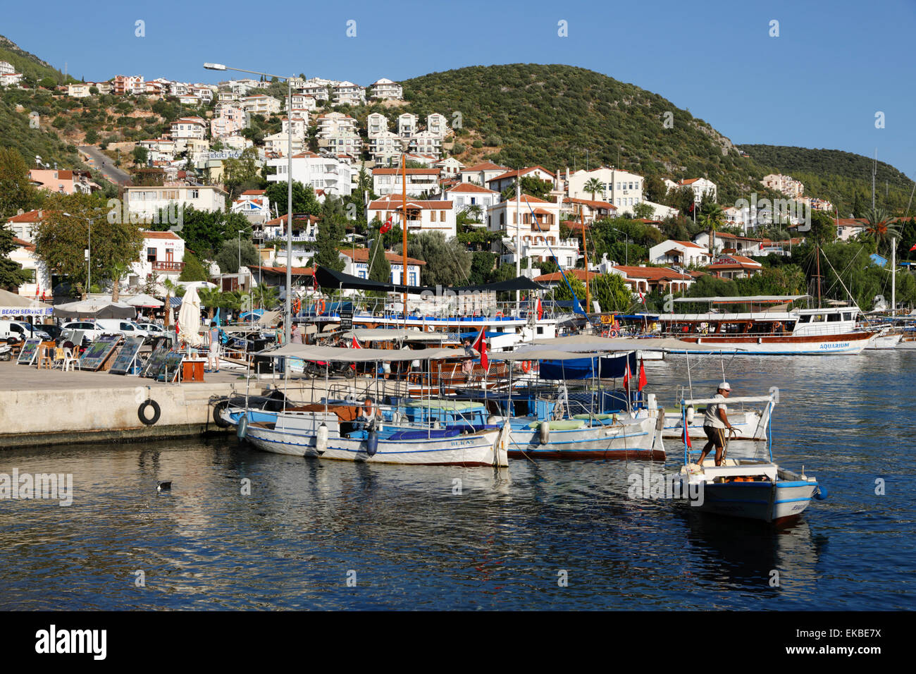 Fishing boats in harbour, Kas, Lycia, Antalya Province, Mediterranean Coast, Southwest Turkey, Turkey, Asia Minor, - Stock Image