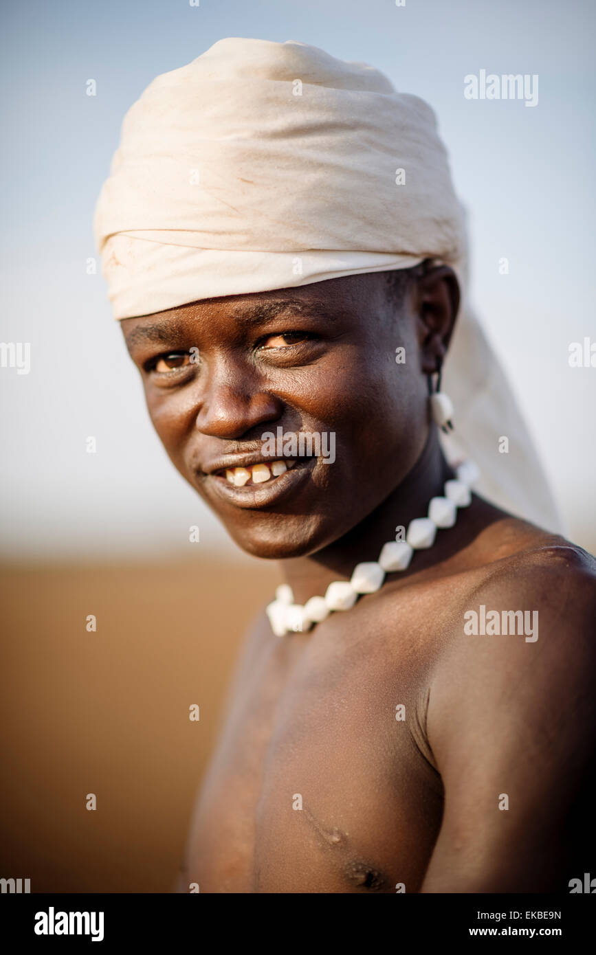 Portrait of Nakabel, Dassanech Tribe, Salany Village, Omorate, Omo Valley, Ethiopia, Africa - Stock Image