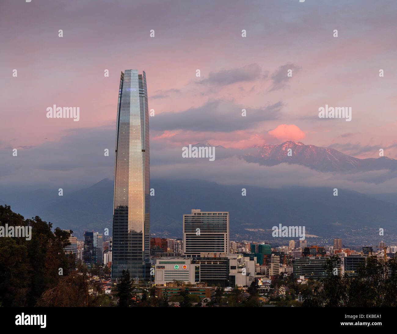 View over the Gran Torre Santiago from Cerro San Cristobal, Santiago, Chile, South America - Stock Image