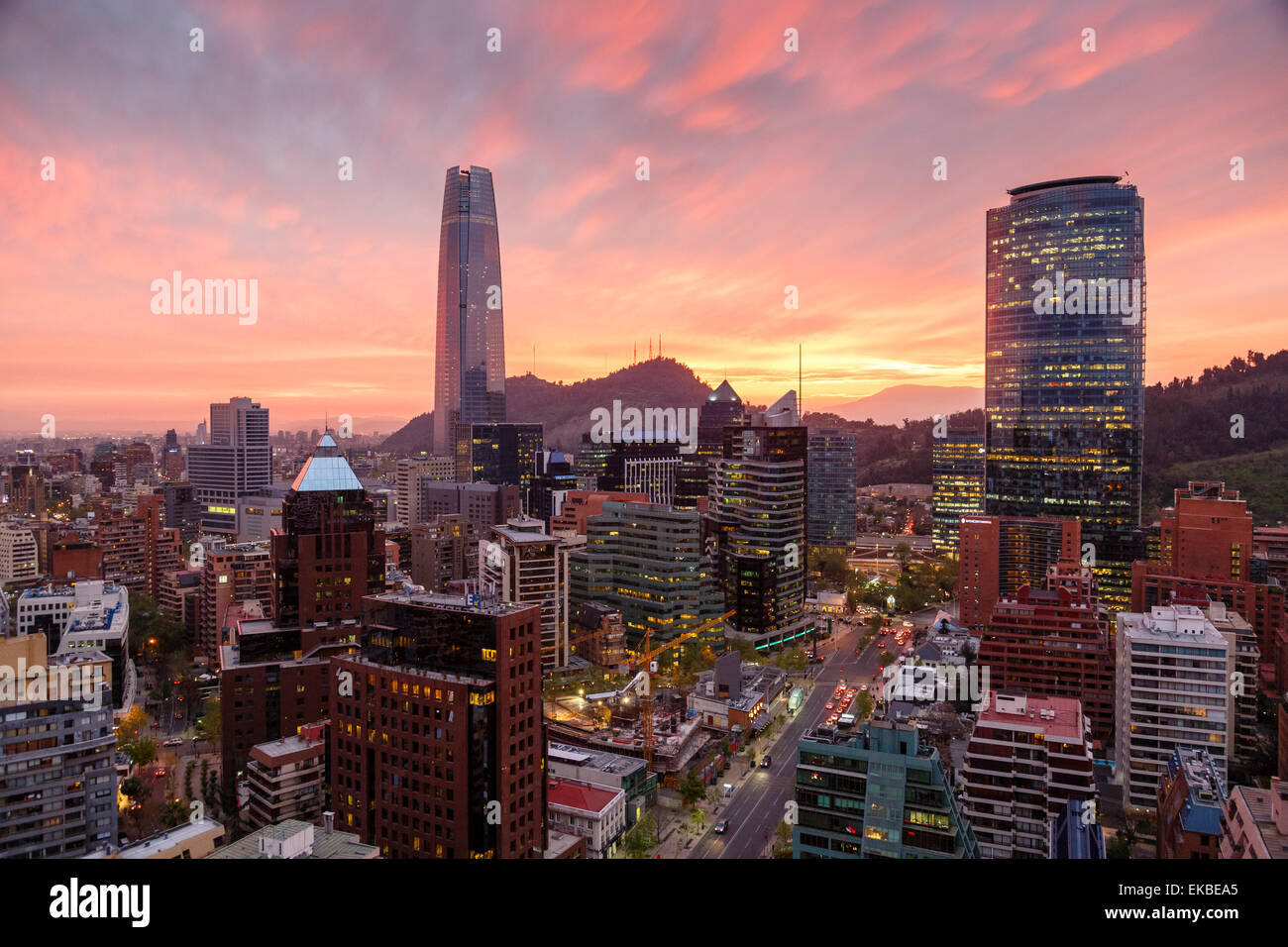 Skyline of Santiago with the Gran Torre, Santiago, Chile, South America - Stock Image