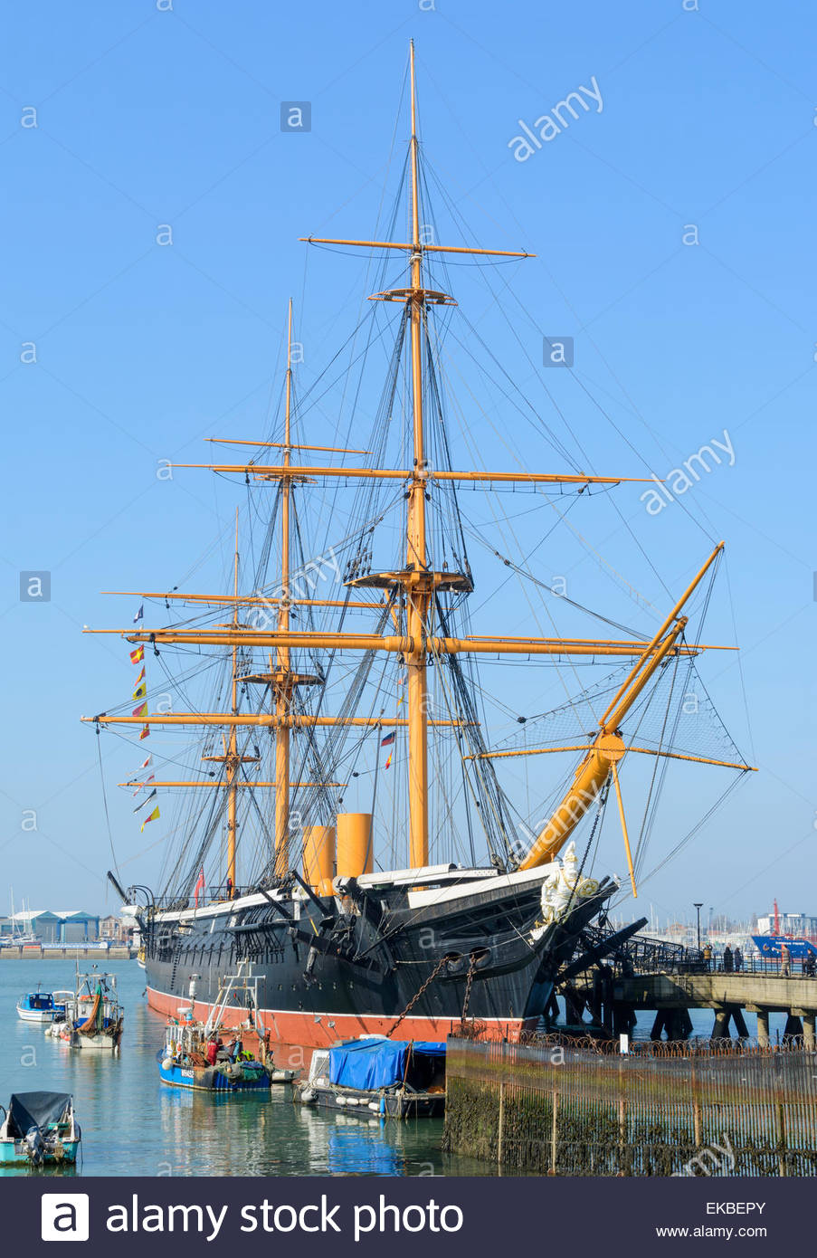 HMS Warrior ship in the docks in Portsmouth Harbour, Portsmouth, Hampshire, England, UK. Old wooden warship. - Stock Image