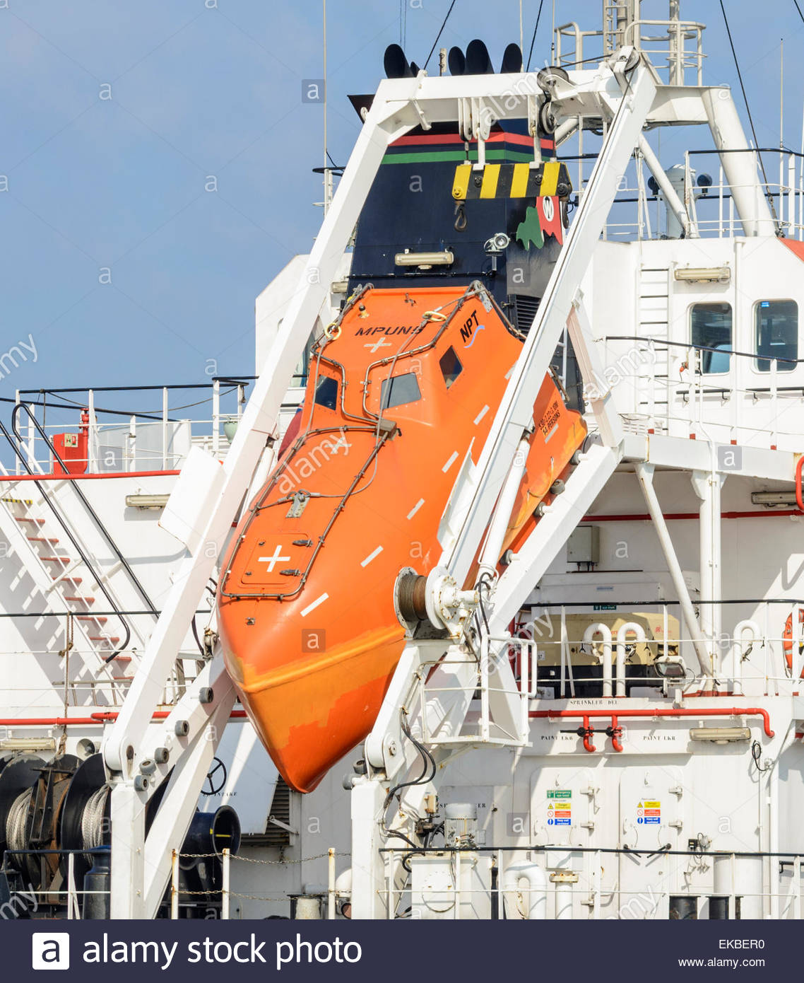 Freefall lifeboat at the rear of the oil tanker Whitonia. - Stock Image