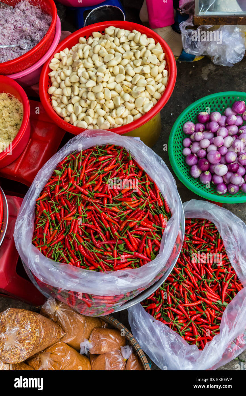 Colorful fresh produce at the local market in Chau Doc, Mekong River Delta, Vietnam, Indochina, Southeast Asia, - Stock Image