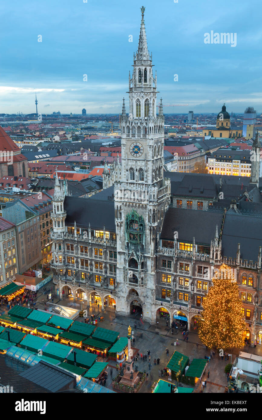 Overview of the Marienplatz Christmas Market and the New Town Hall, Munich, Bavaria, Germany, Europe Stock Photo