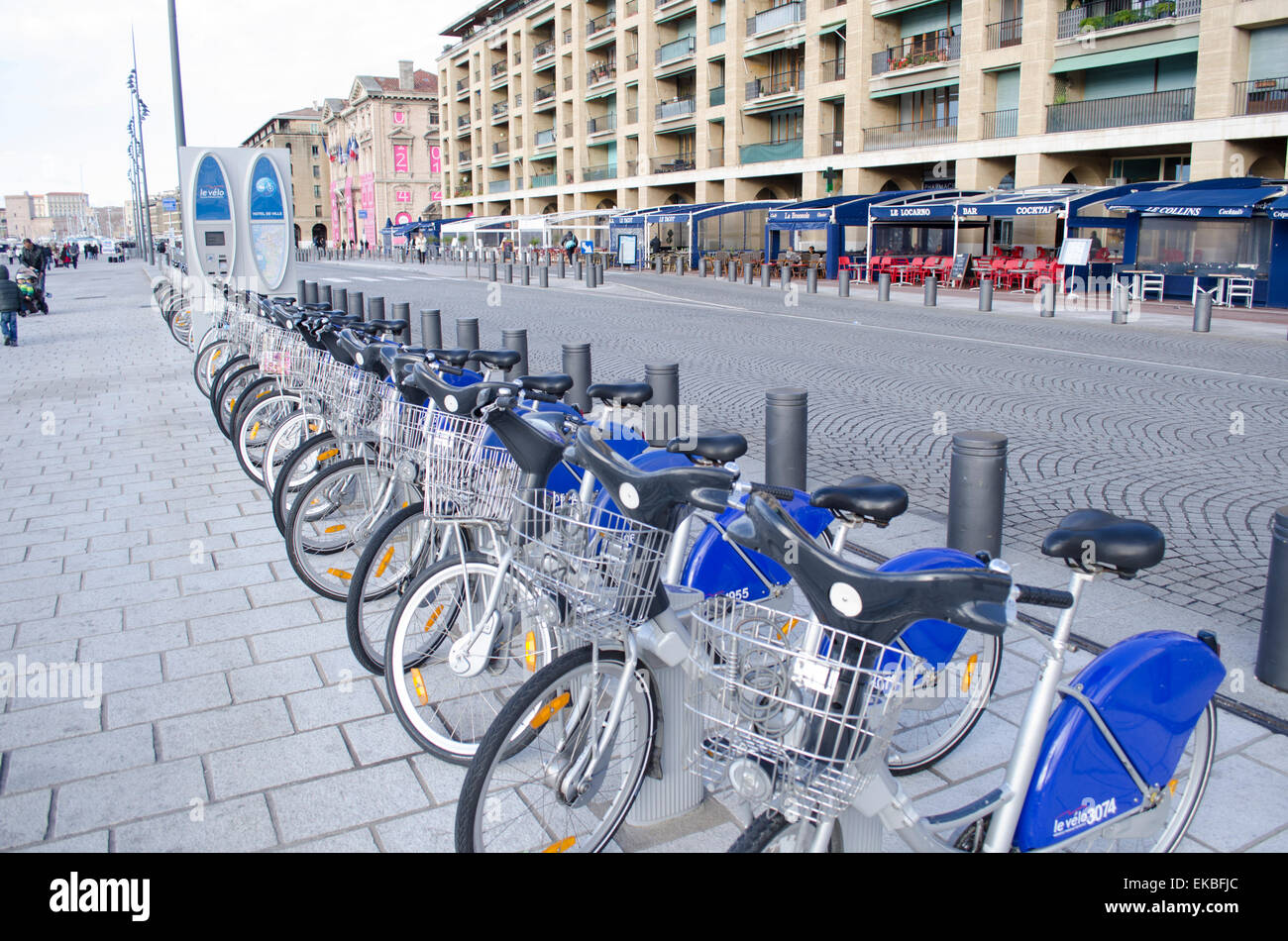 Bicycle hire in Marseille, Provence, France, Europe - Stock Image