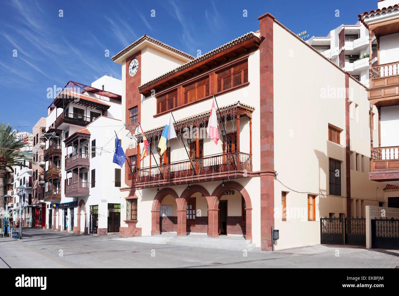 Town Hall at Plaza de las Americas Square, San Sebastian, La Gomera, Canary Islands, Spain, Europe - Stock Image