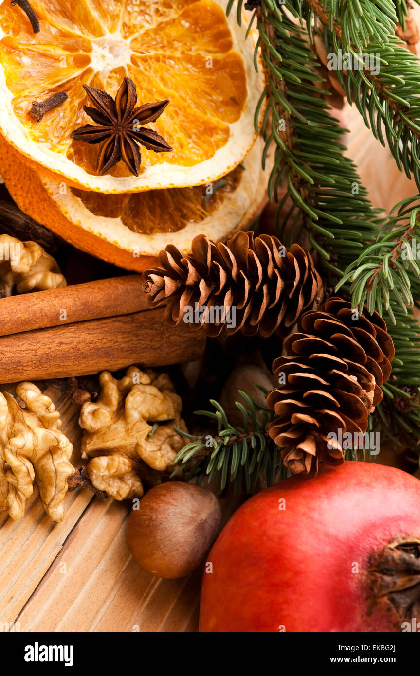 Different Kinds Of Spices Nuts And Dried Oranges Christmas De
