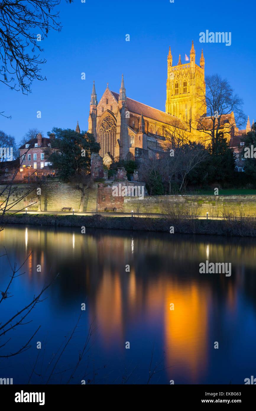 Worcester Cathedral on the River Severn floodlit at dusk, Worcester, Worcestershire, England, United Kingdom, Europe - Stock Image