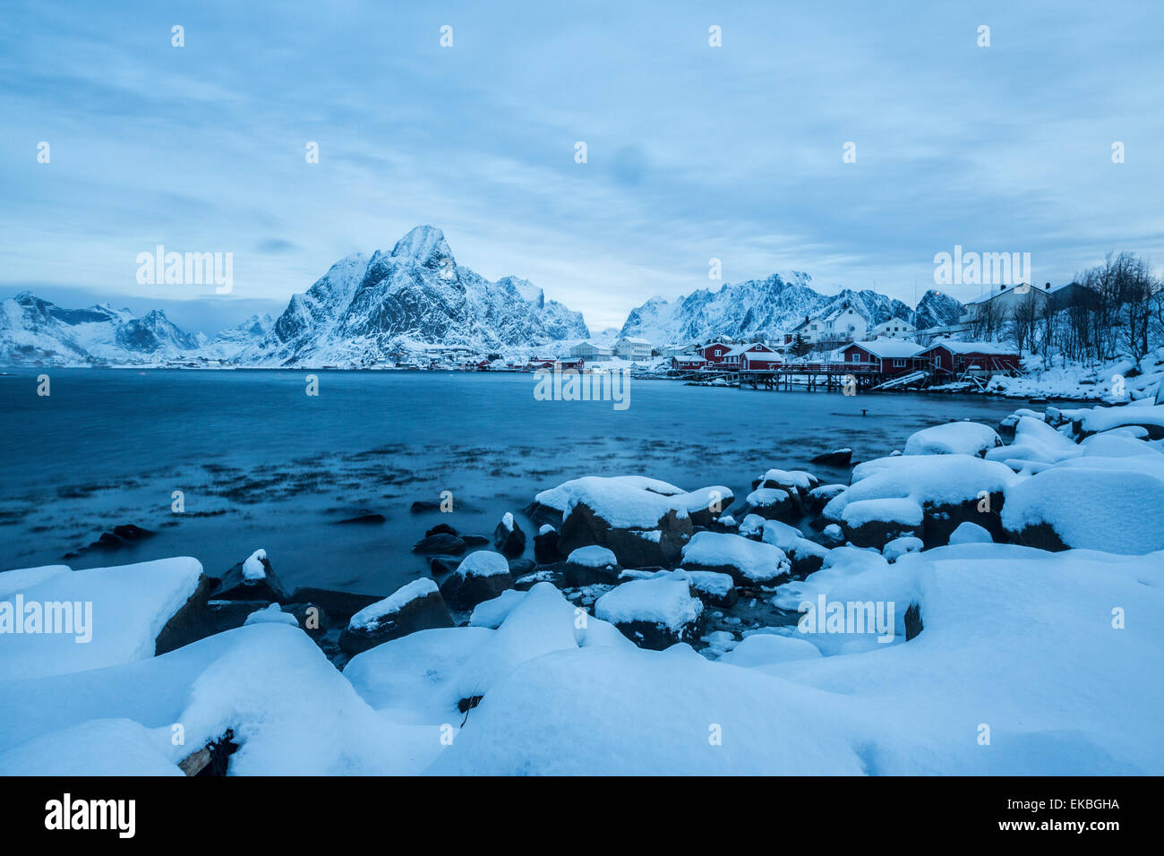 Blue hour in the bay of Reine, Reine, Lofoten Islands, Norway Stock Photo