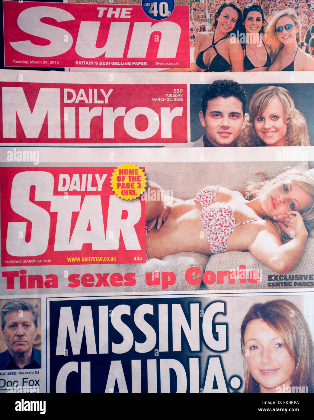 """The """"red top"""" tabloid national newspapers The Sun, Daily Mirror & Daily Star, London Stock Photo"""