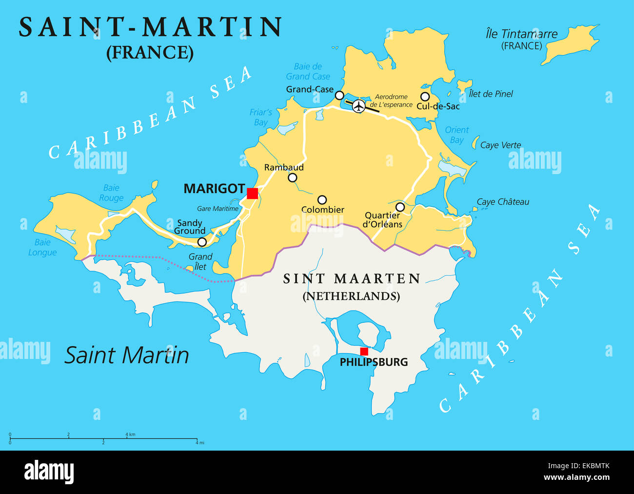 Saint-Martin Country Political Map - Stock Image