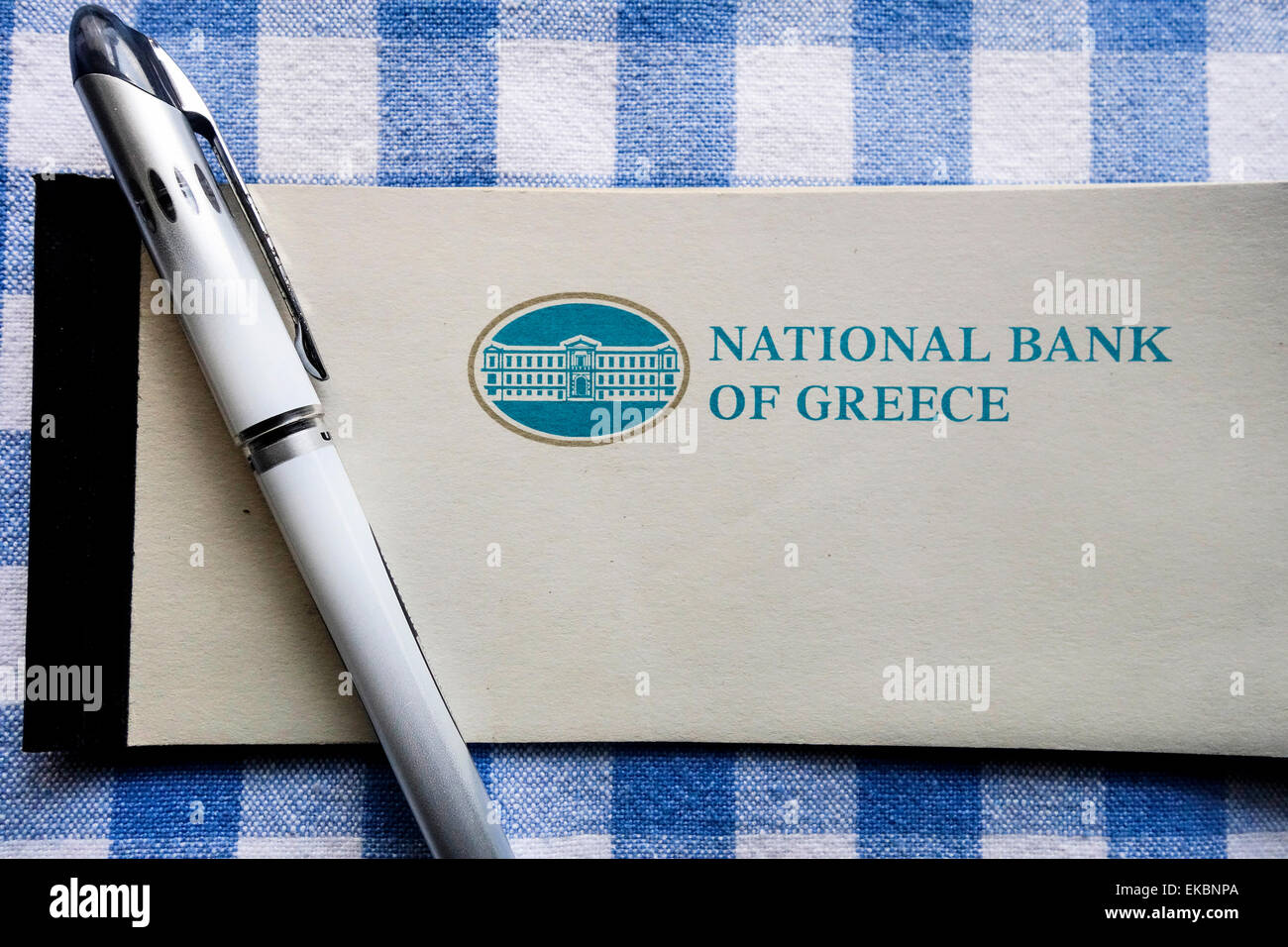 National Bank of Greece Cheque Book - Stock Image
