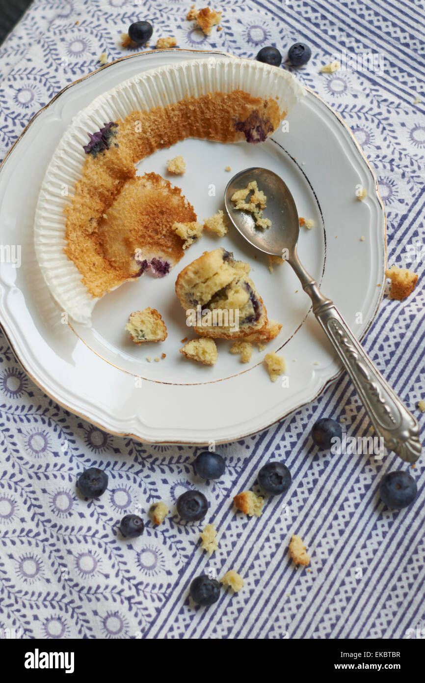 Finished blueberry muffin - Stock Image