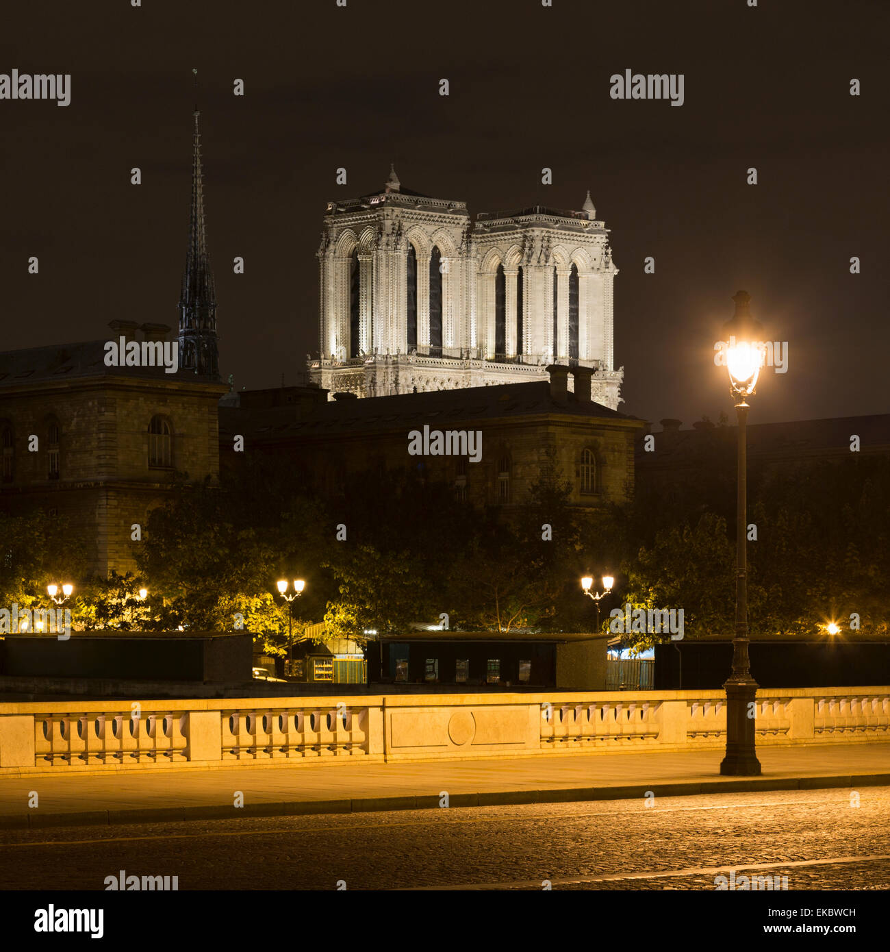 View of Pont au Change and Notre-Dame Cathedral at night, Paris, France - Stock Image