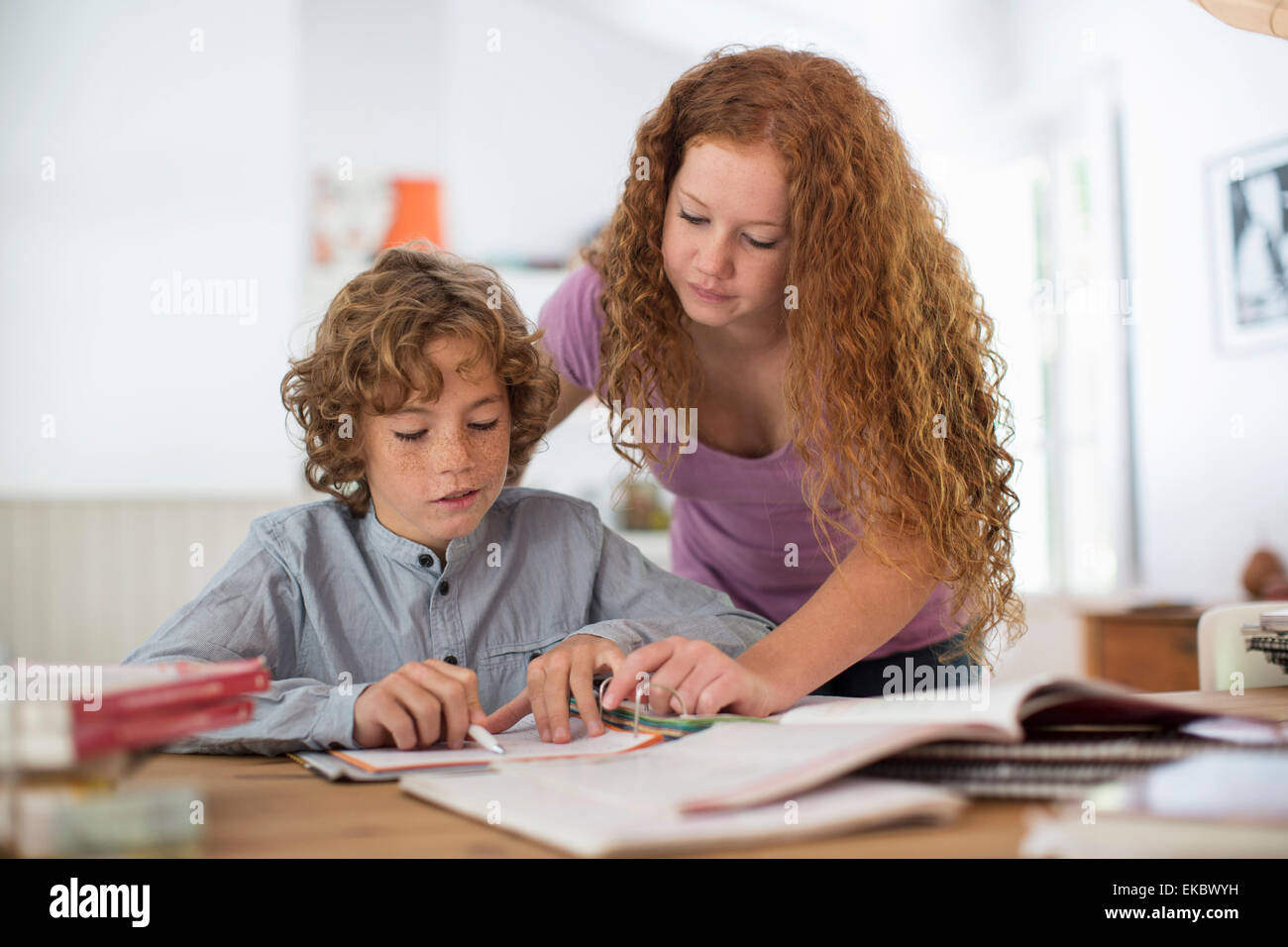 Siblings studying together - Stock Image