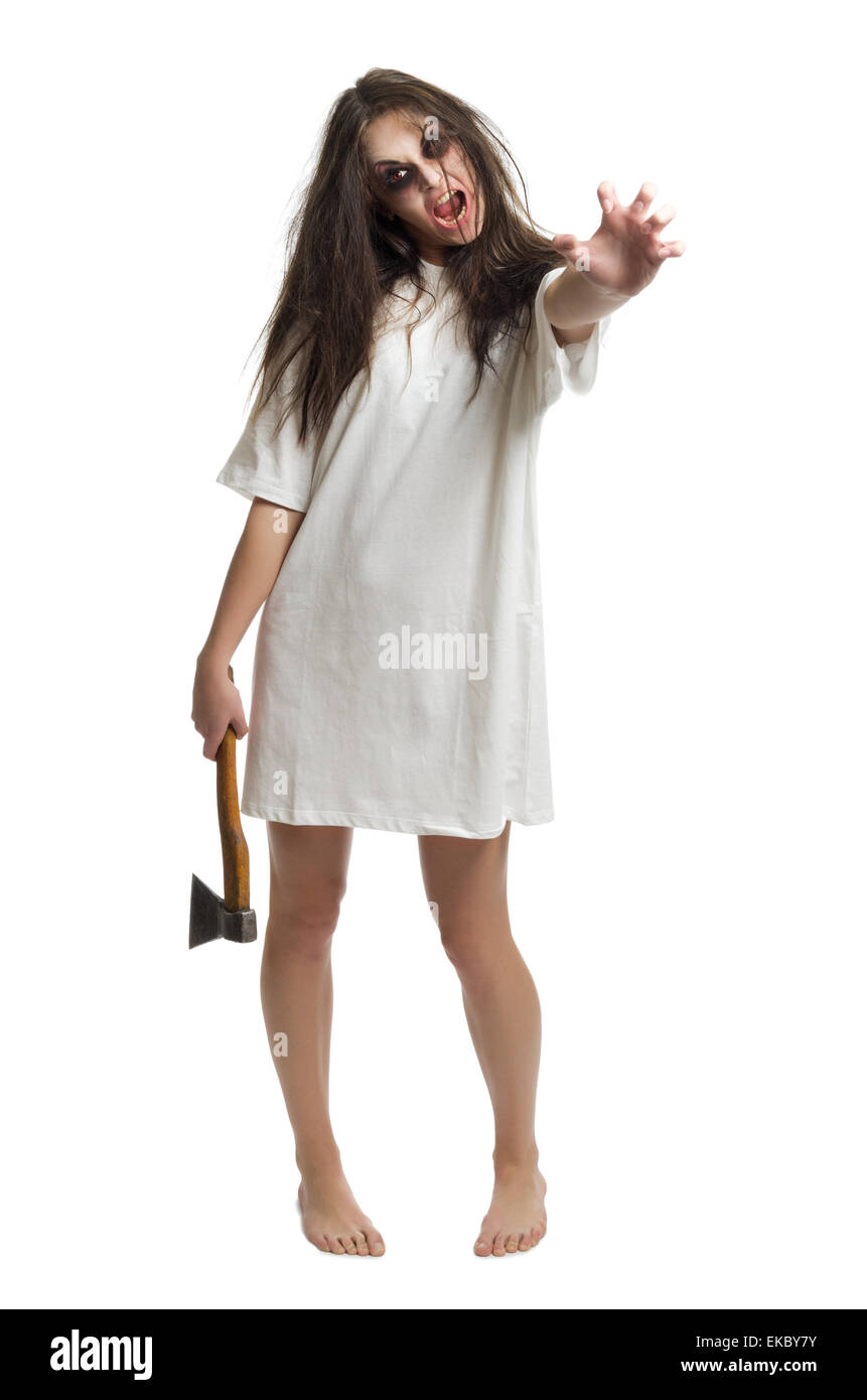 Zombie girl with axe - Stock Image