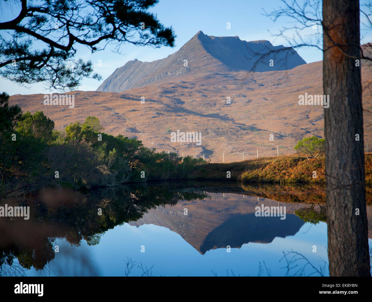 View of calm loch and mountains, North West Highlands, Scotland, UK - Stock Image