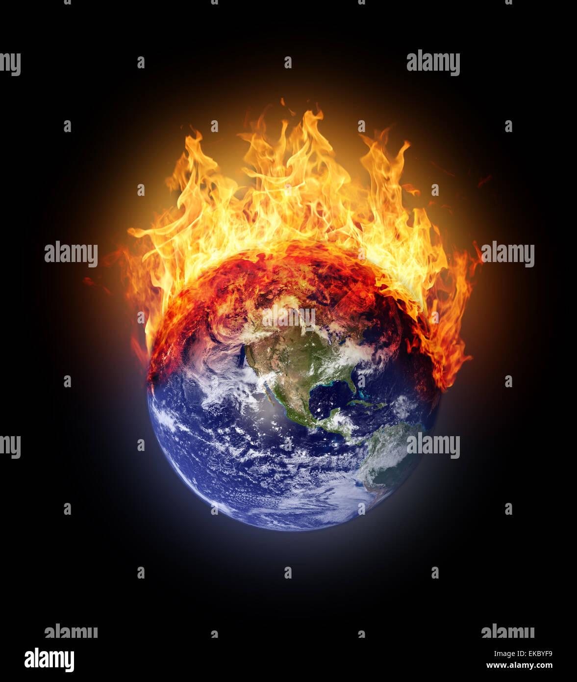 Burning earth globe west hemisphere - Stock Image