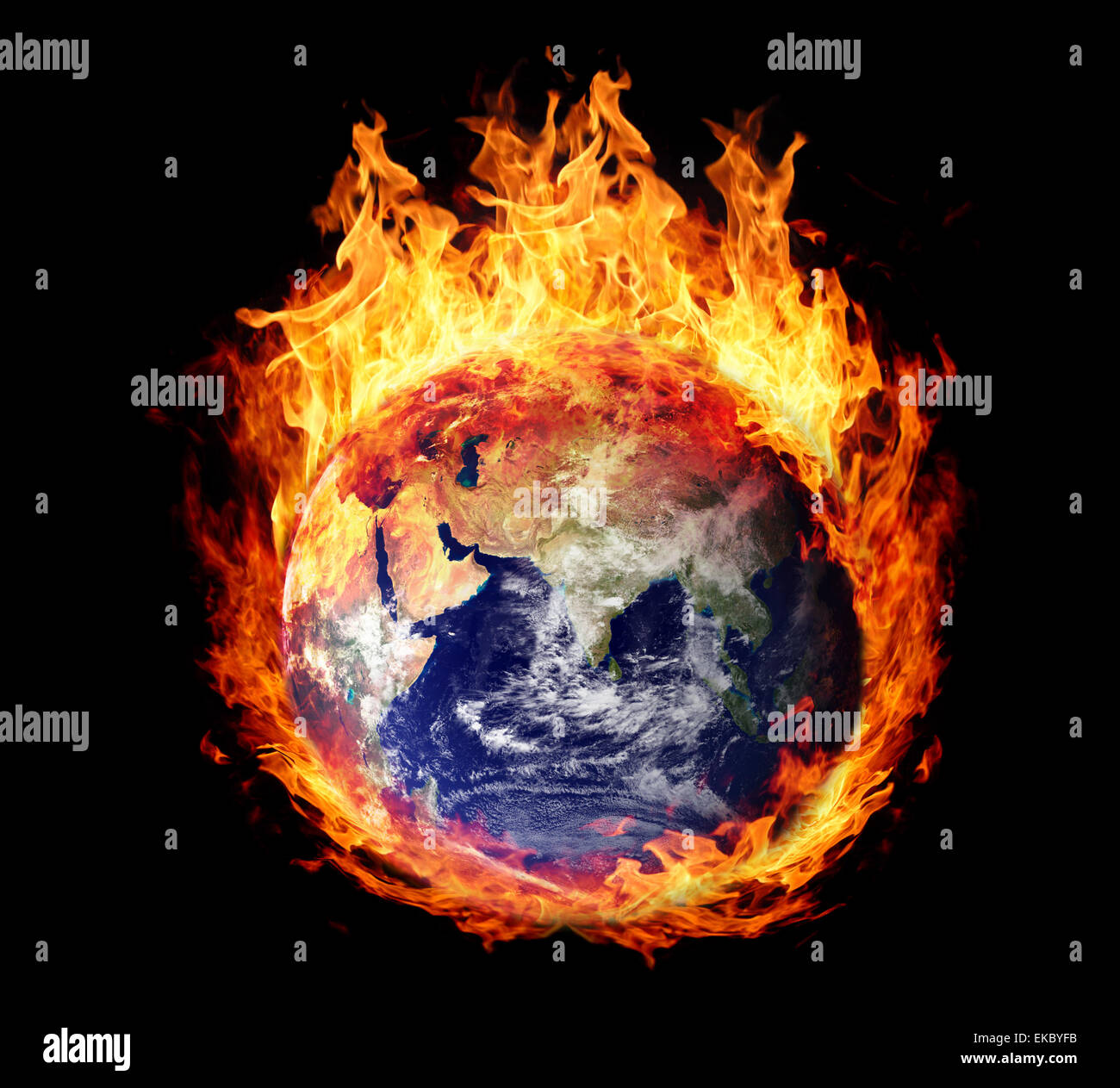 Burning globe earth (east hemisphere) - Stock Image