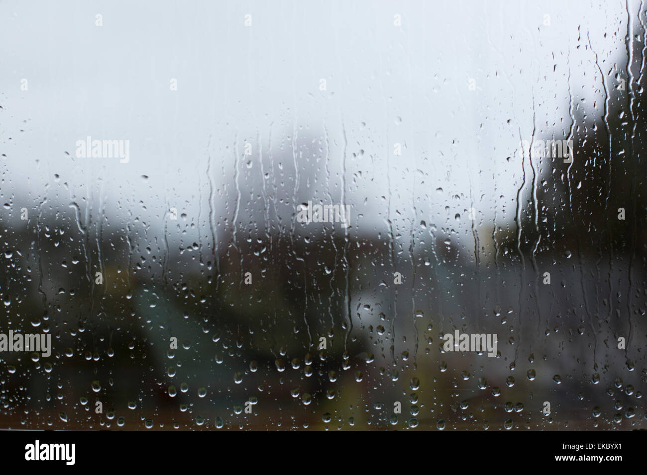 View through window pane with raindrops - Stock Image
