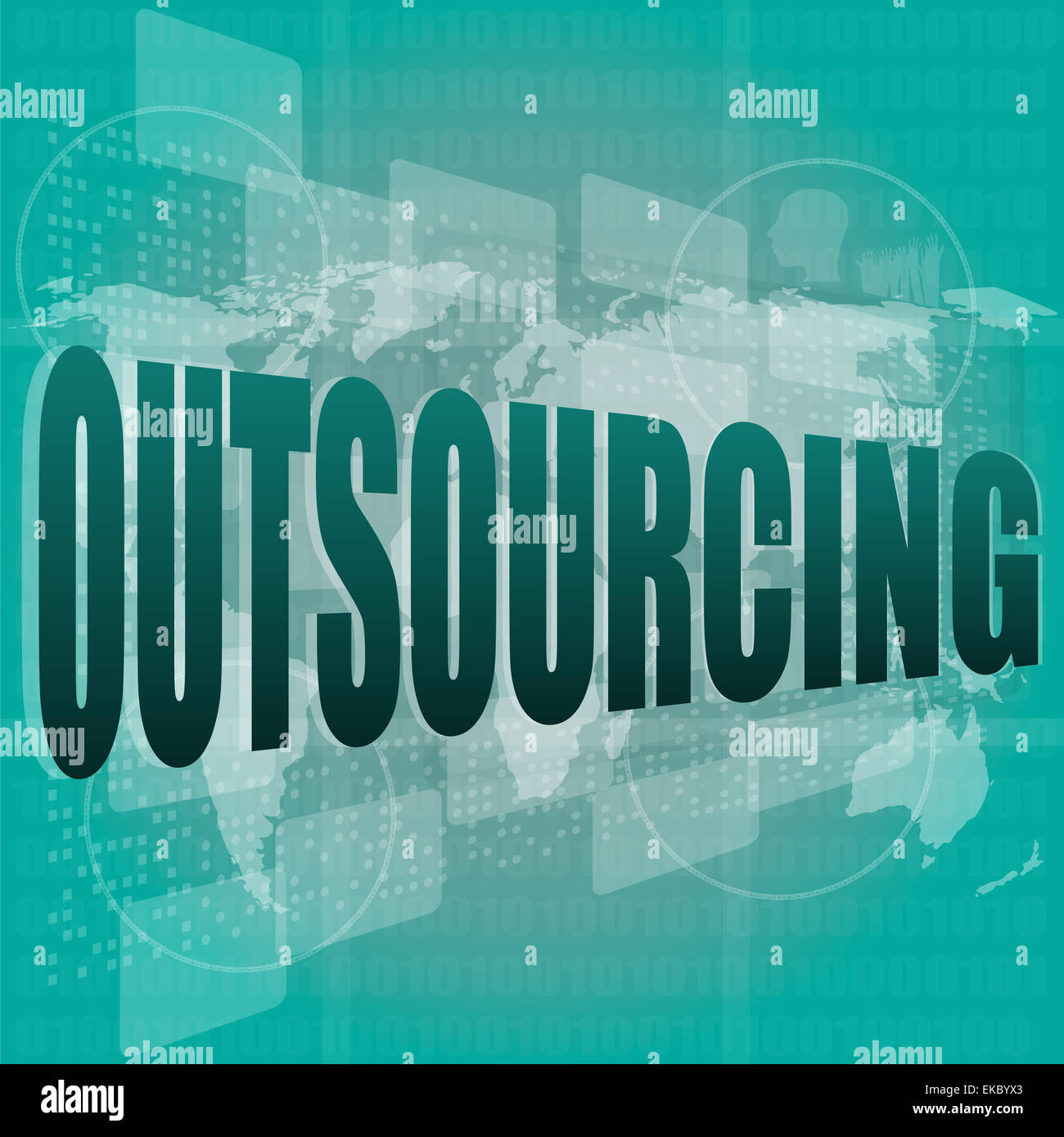 Job, work concept: words Outsourcing on digital screen, 3d - Stock Image