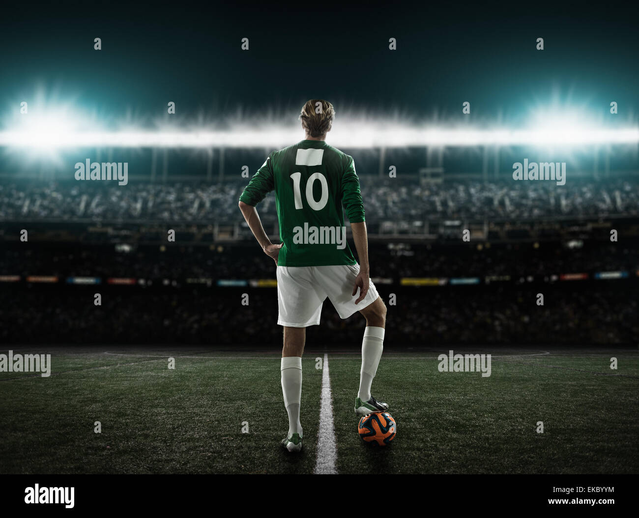 Footballer waiting to kick off - Stock Image