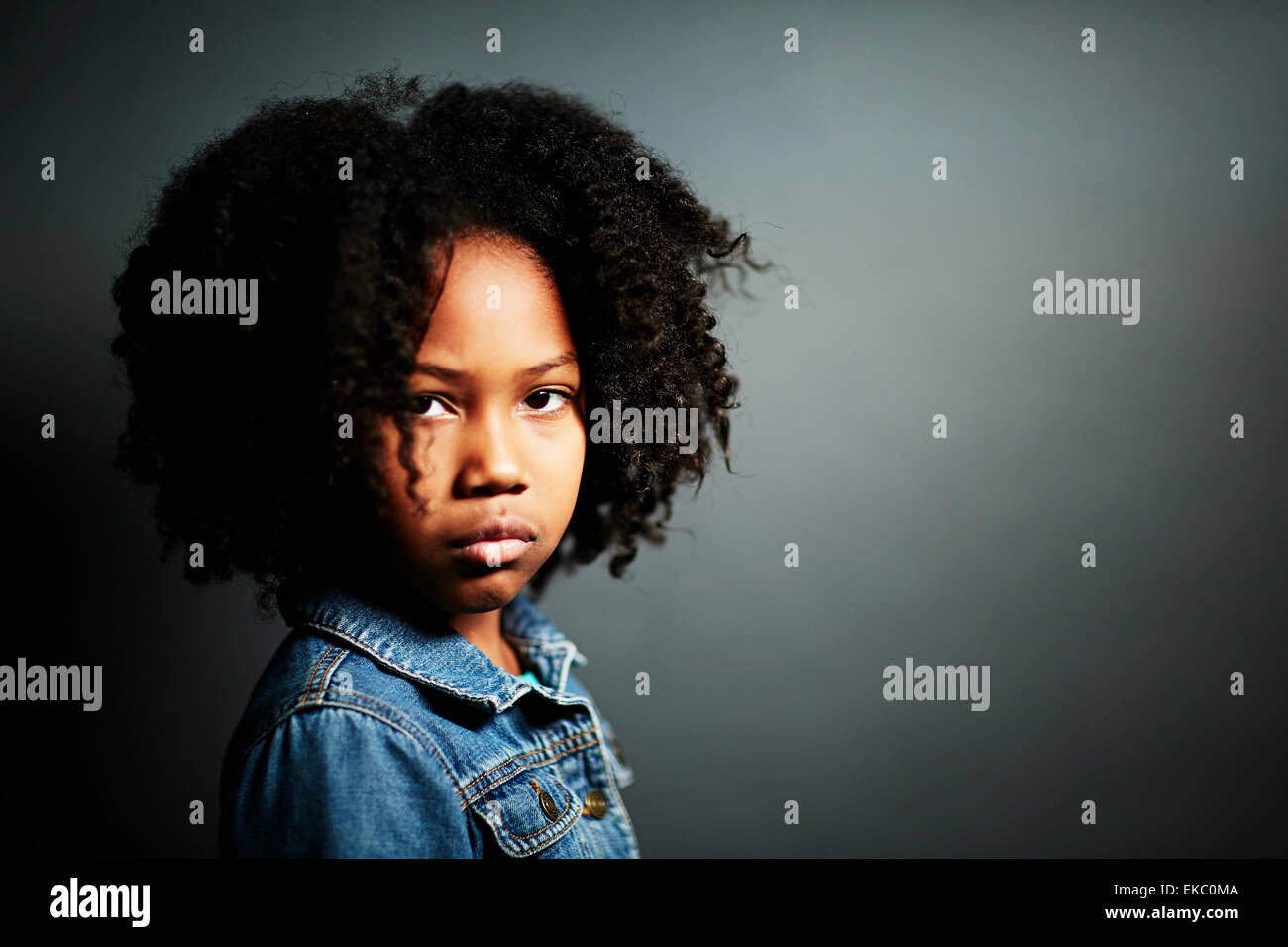 Girl with afro - Stock Image