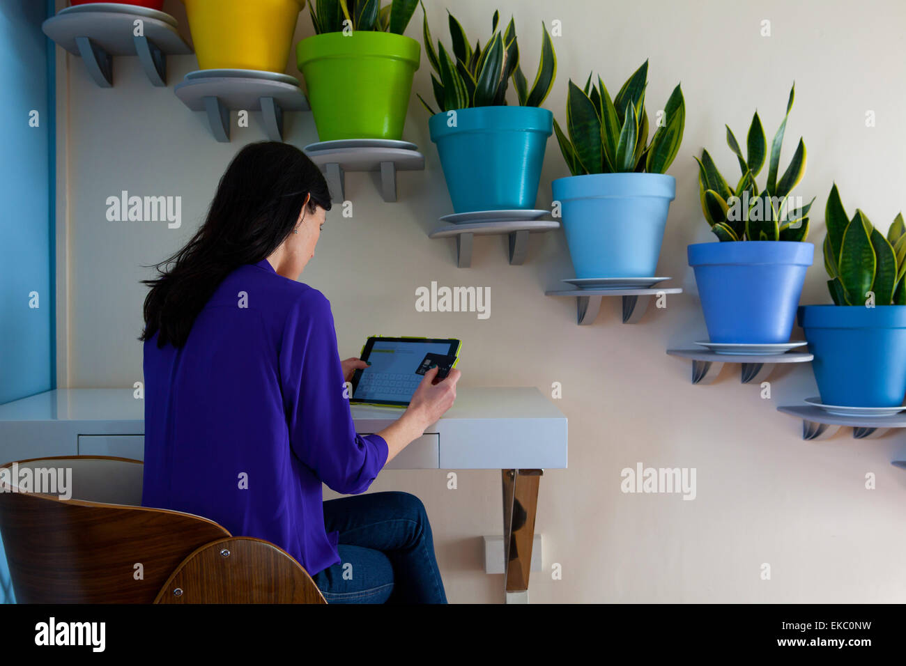 Woman making payment on digital tablet in front of diagonal row of potted plants - Stock Image
