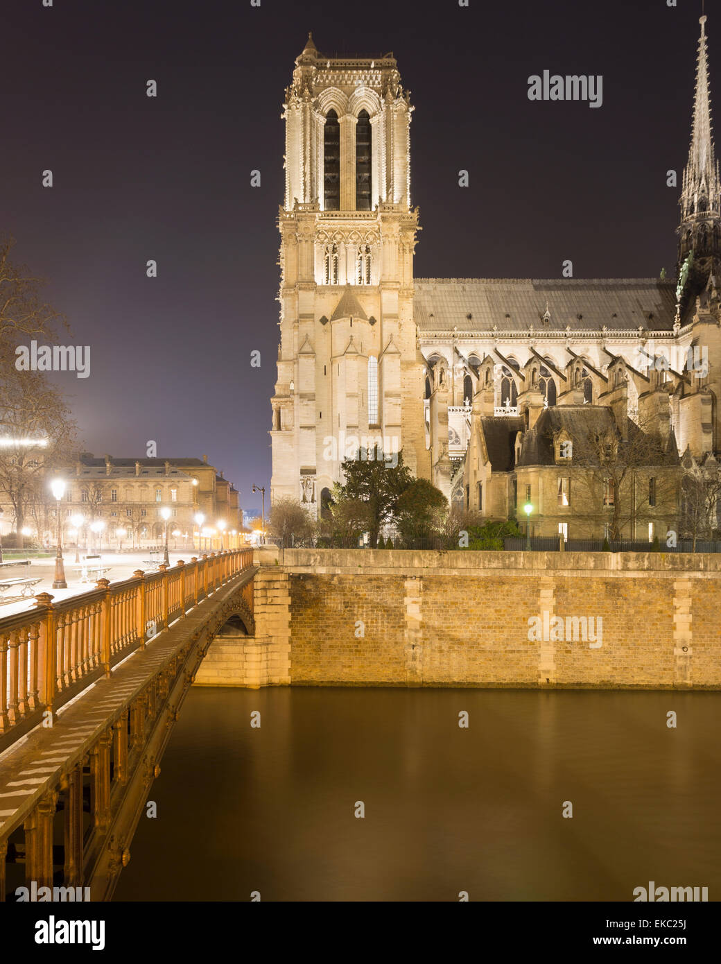 View of Notre Dame Cathedral and Pont au Double at night, Paris, France Stock Photo