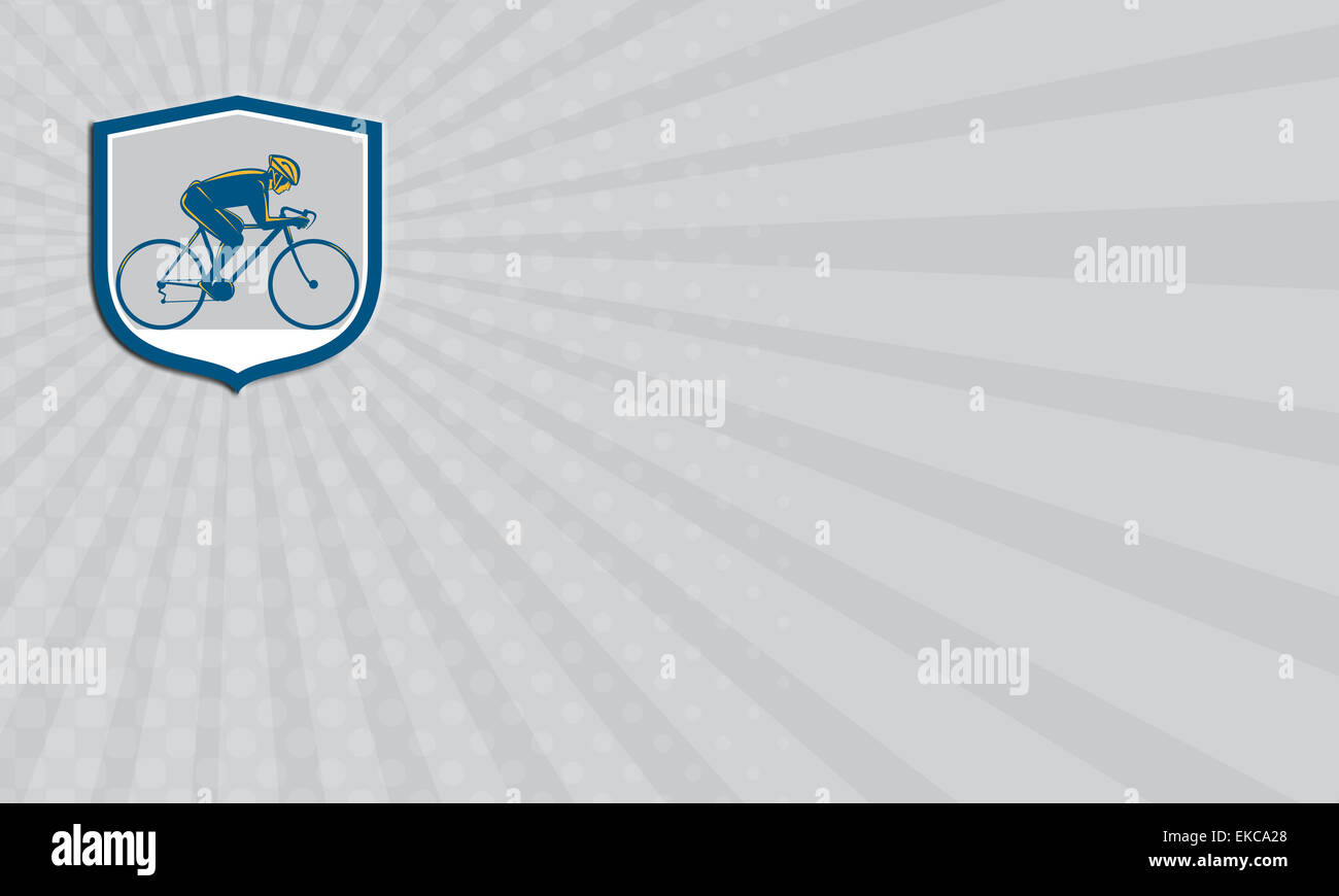 Business card Cyclist Riding Mountain Bike Shield Retro Stock Photo ...