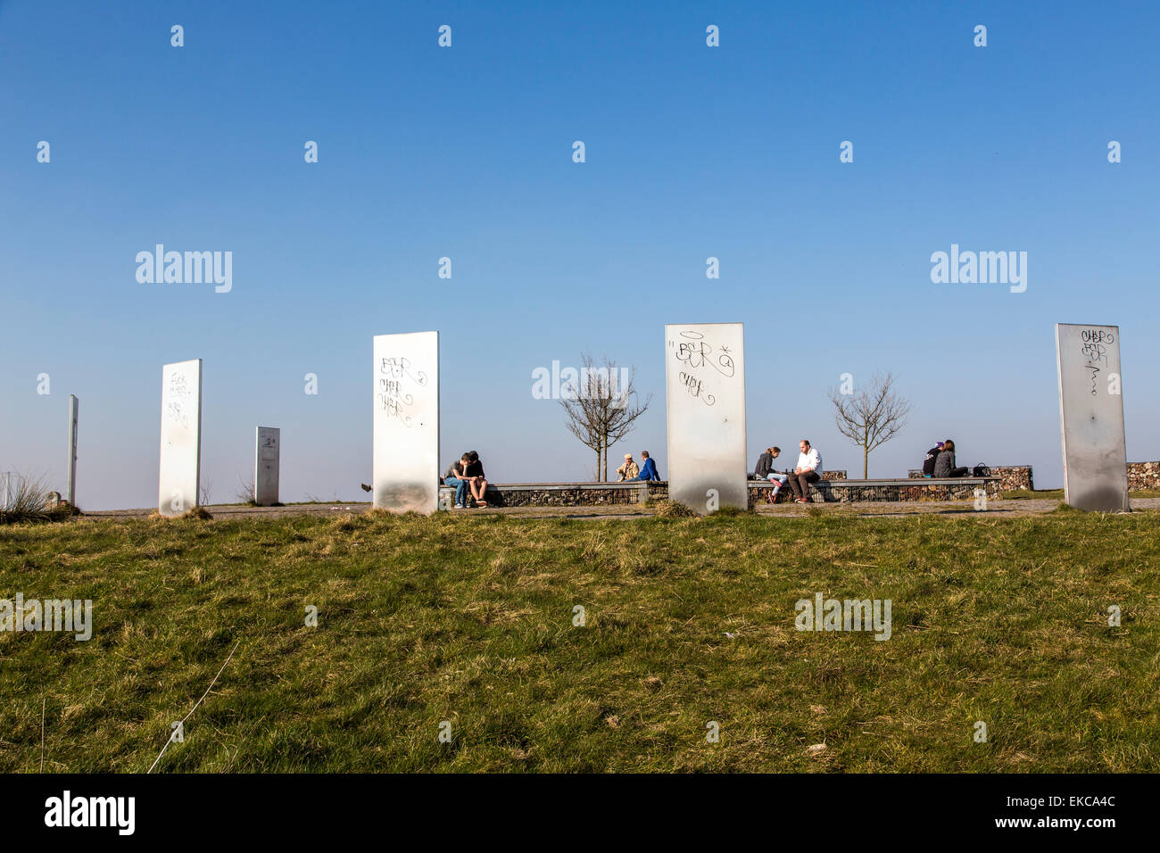 Top of Tippelsberg in Bochum, look over the central Ruhr area, totems made of steel, information boards, - Stock Image