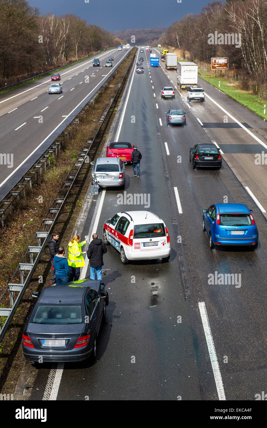 Car accident on highway, Autobahn A3, 4 cars are involved, police