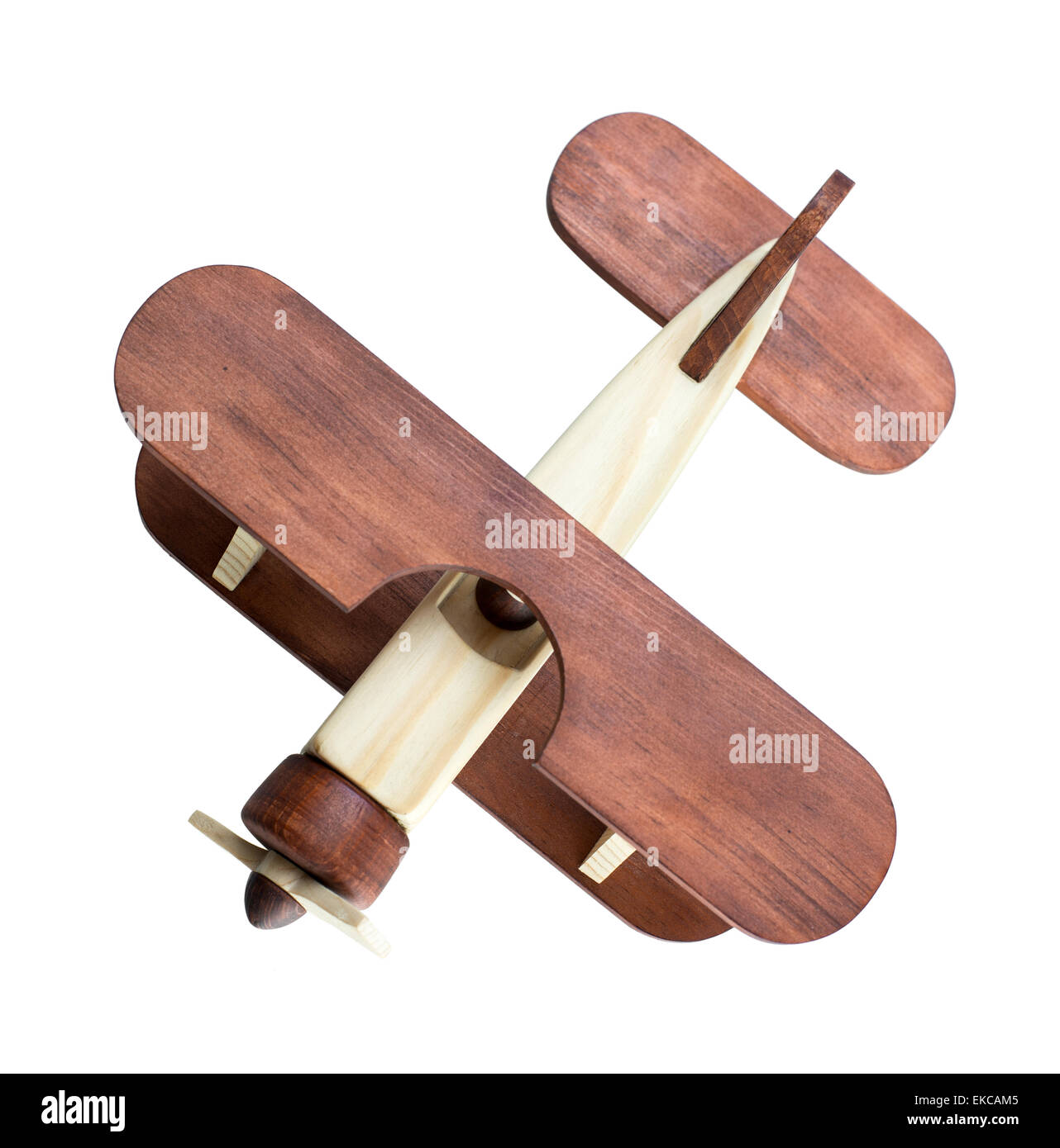 Wooden airplane model top view isolated - Stock Image