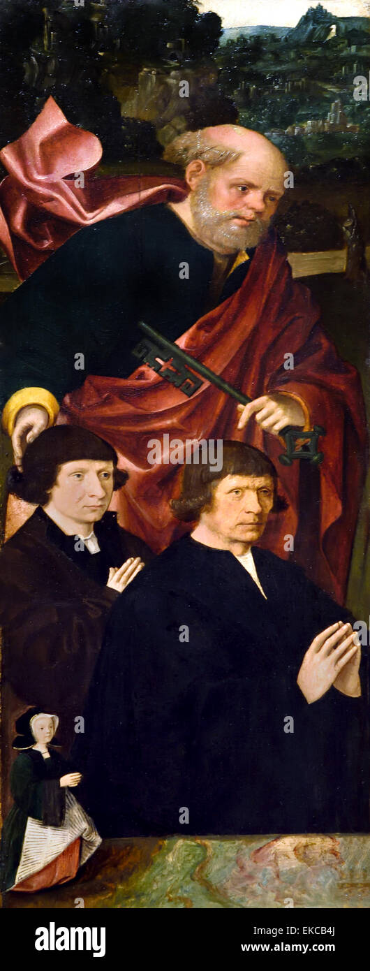 Founders with St Peter with the Key  ( Wing of a Triptych ) Jacob Cornelisz. van Oostsanen 1472-Amsterdam1533 Dutch - Stock Image