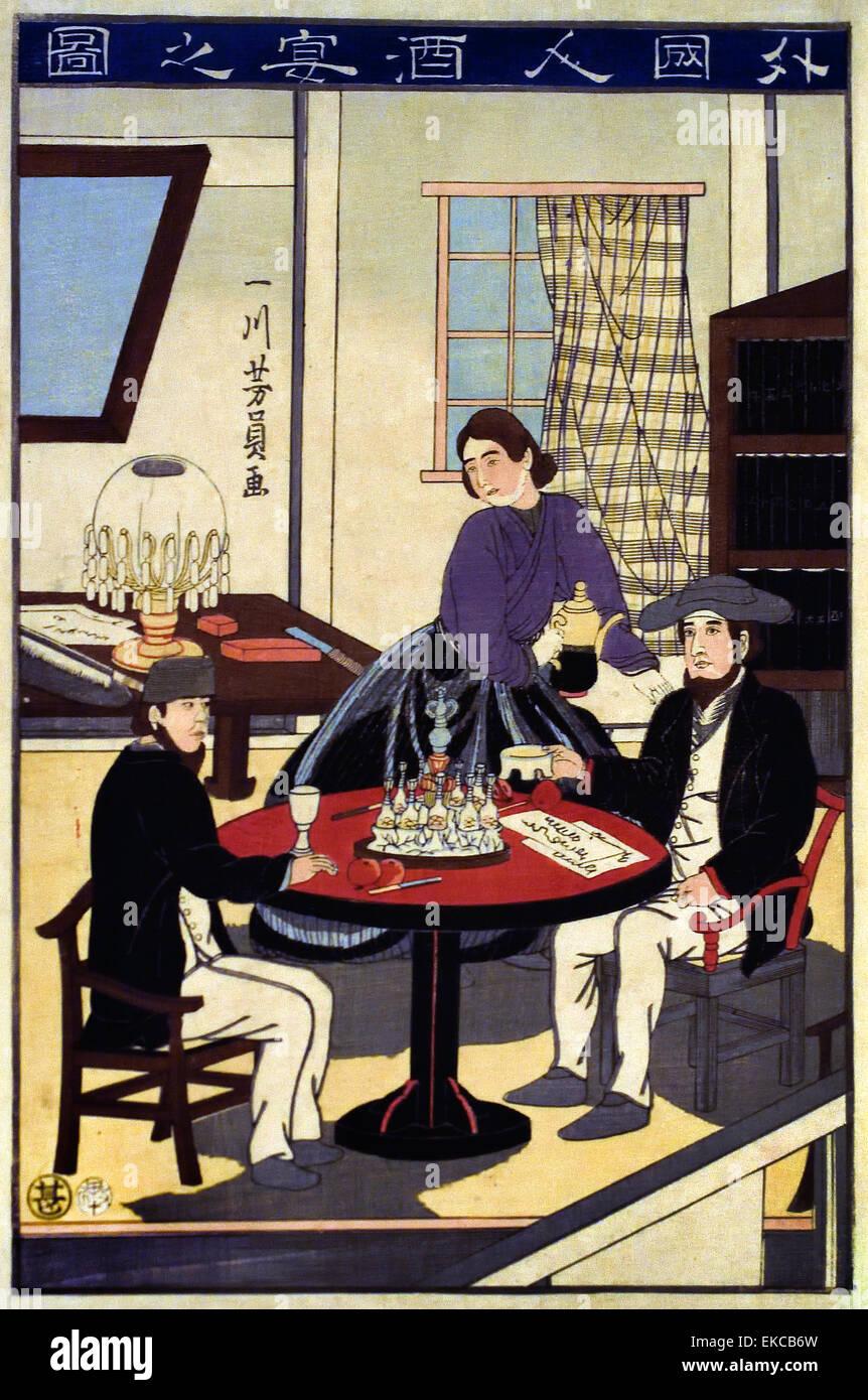 Courtesans and their apprentices at a teahouse 1870 Utagawa Kunisada II (1823–1880) Japanese printmaker Japan - Stock Image