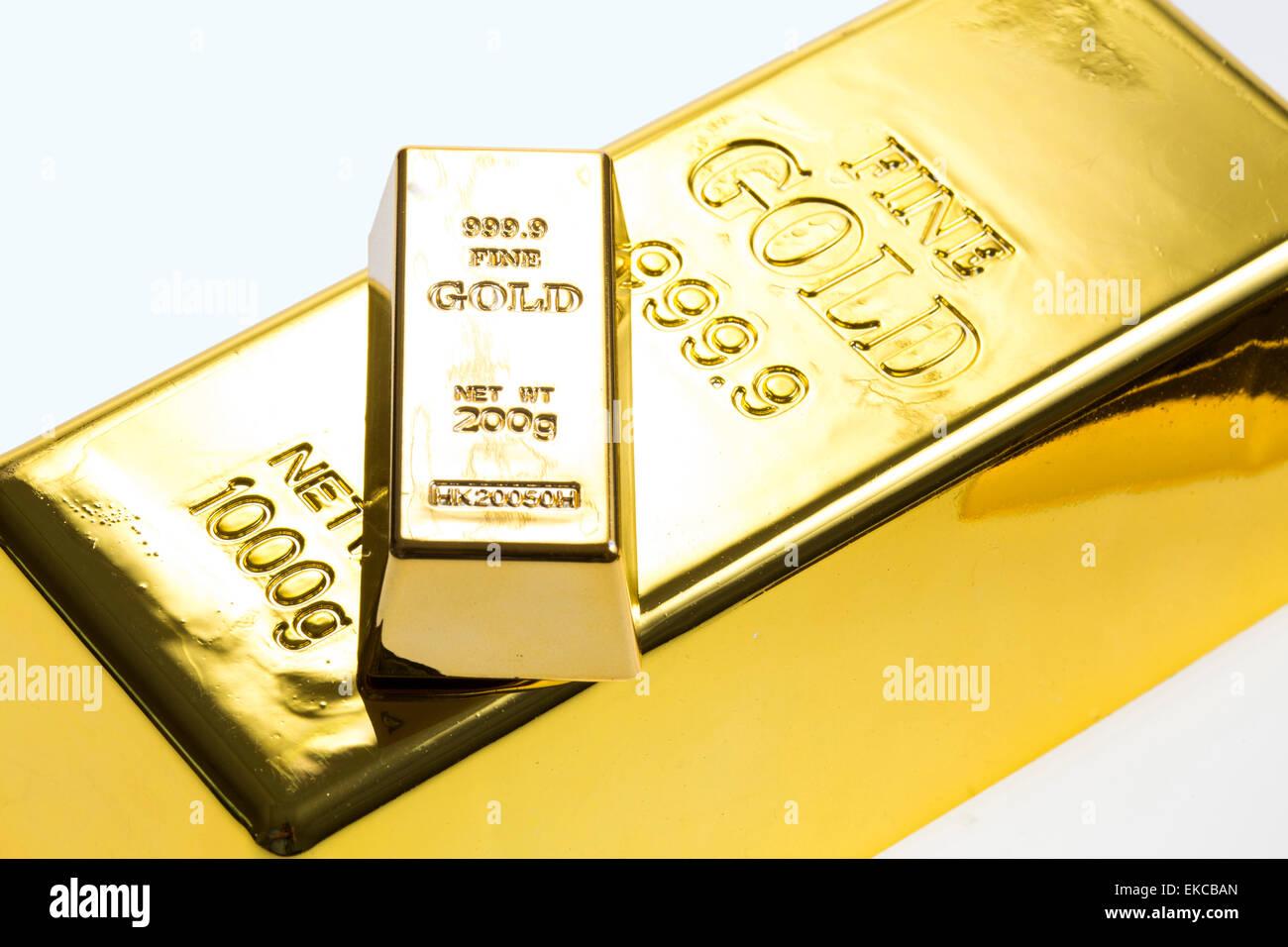 Gold bar, gold bullion, gold ingot - Stock Image