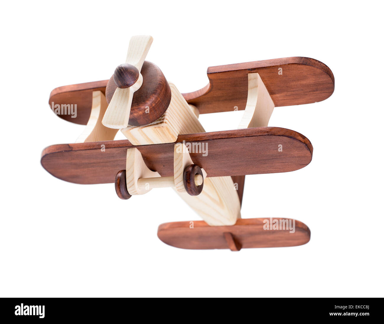 Wooden airplane isolated with clipping path included - Stock Image