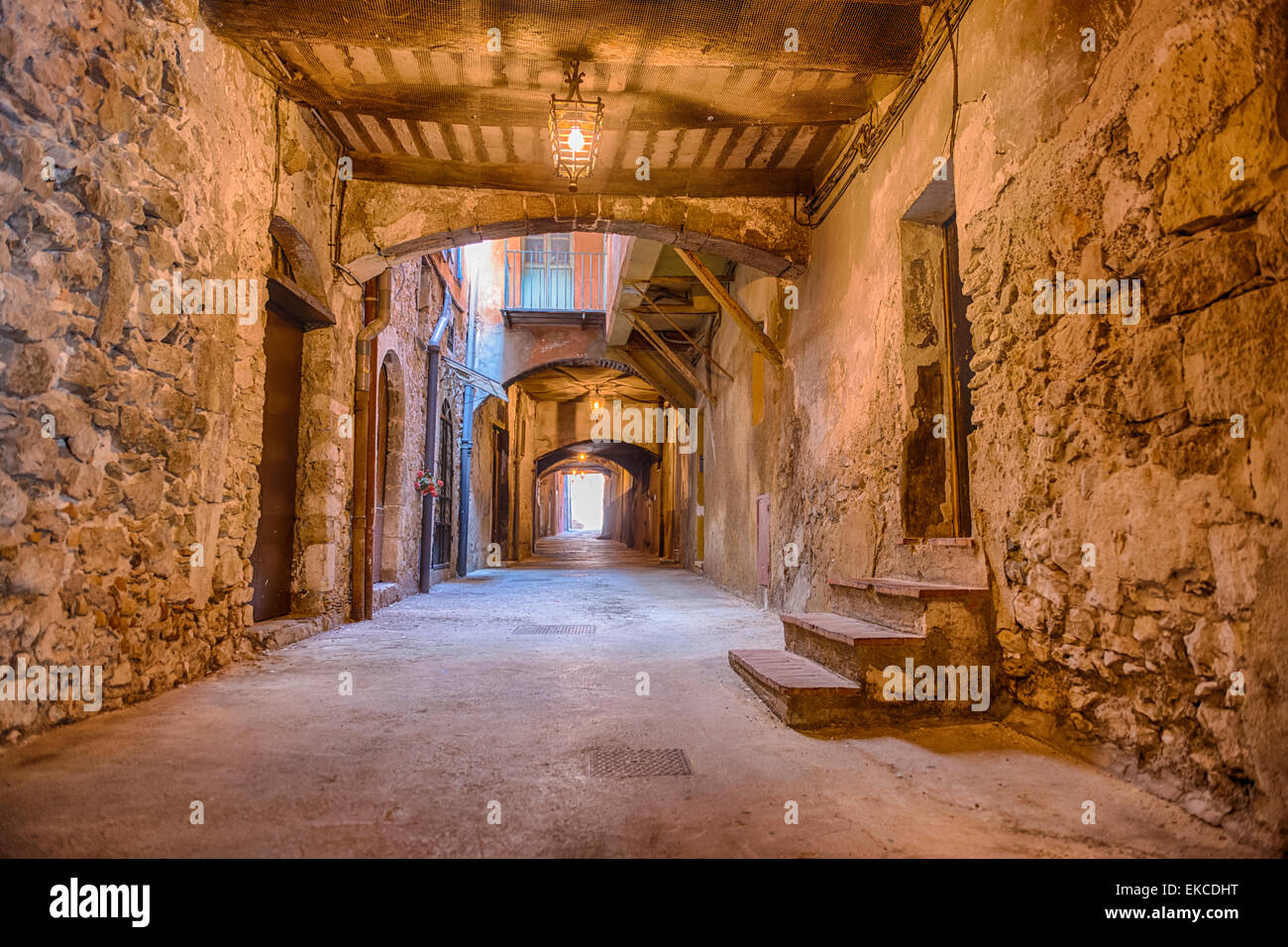 Rue Obscure, an underground street in Villefranche-sur-Mer - Stock Image
