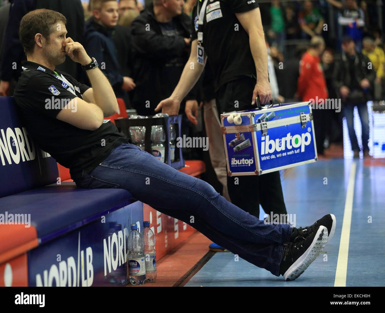 Magdeburg's coach Geir Sveinsson after the German handball bundesliga match between SC Magdeburg and THW Kiel - Stock Image