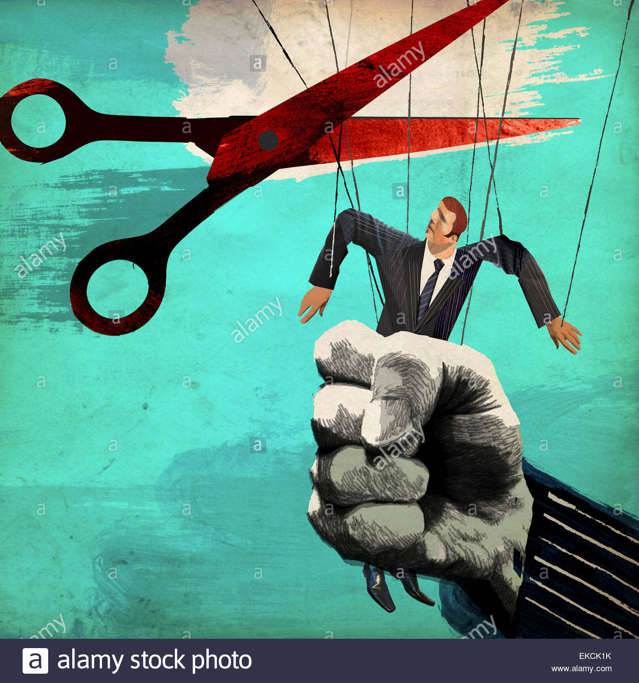 Scissors cutting puppet strings from businessman being squeezed in large fist - Stock Image