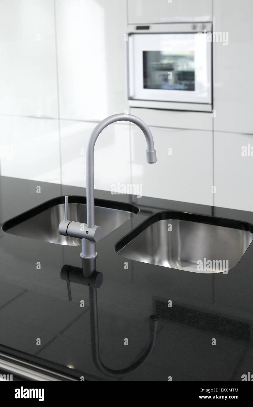 kitchen faucet and oven modern black and white Stock Photo: 80799732 ...