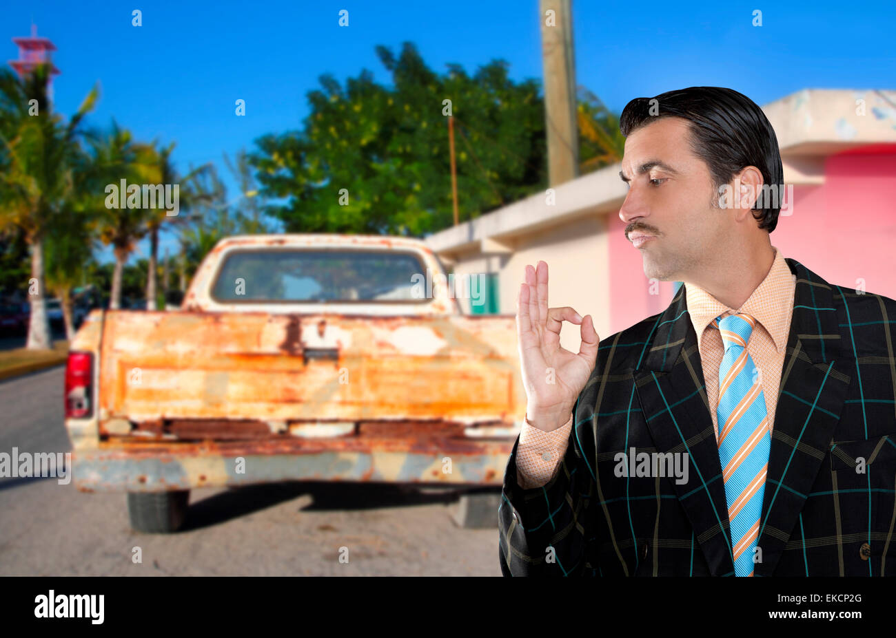 car used salesperson selling old car as brand new Stock Photo ...