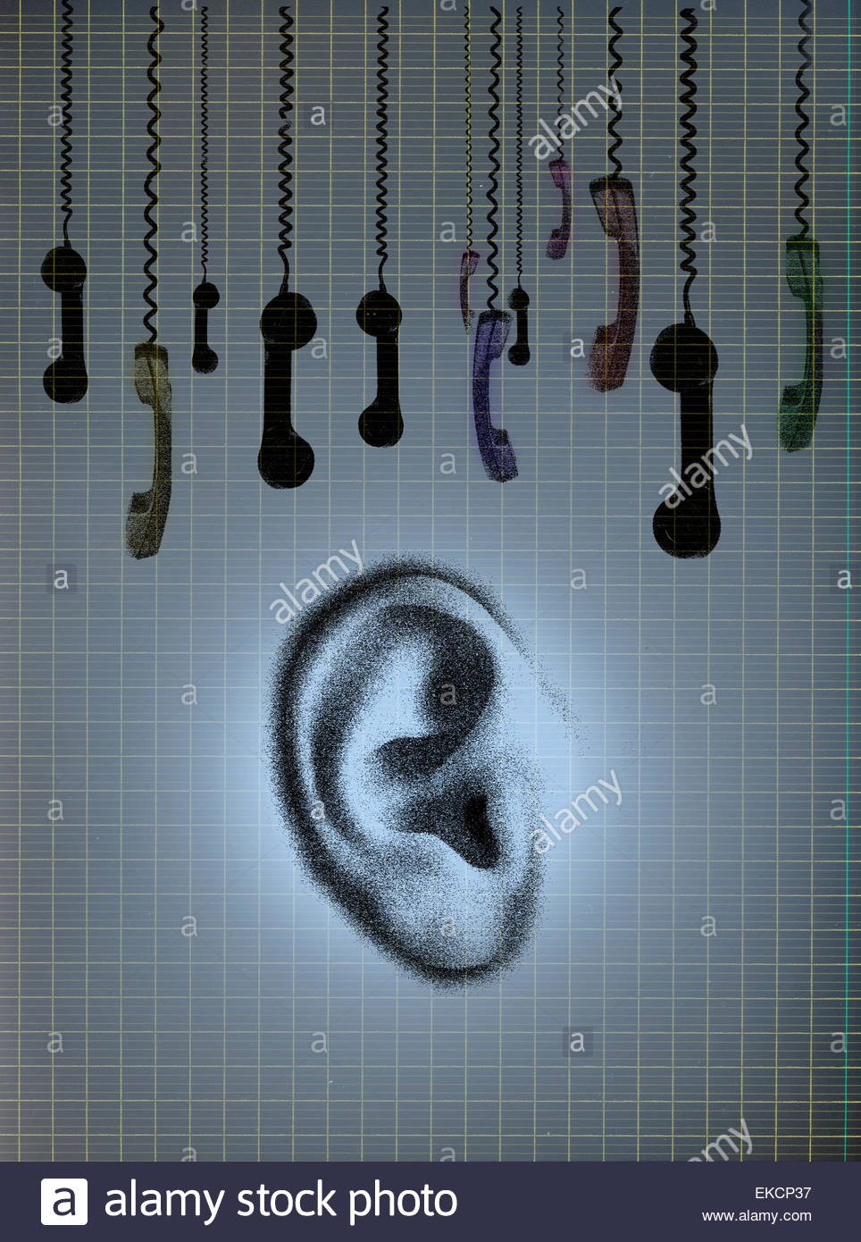 Dangling telephone receivers above ear - Stock Image