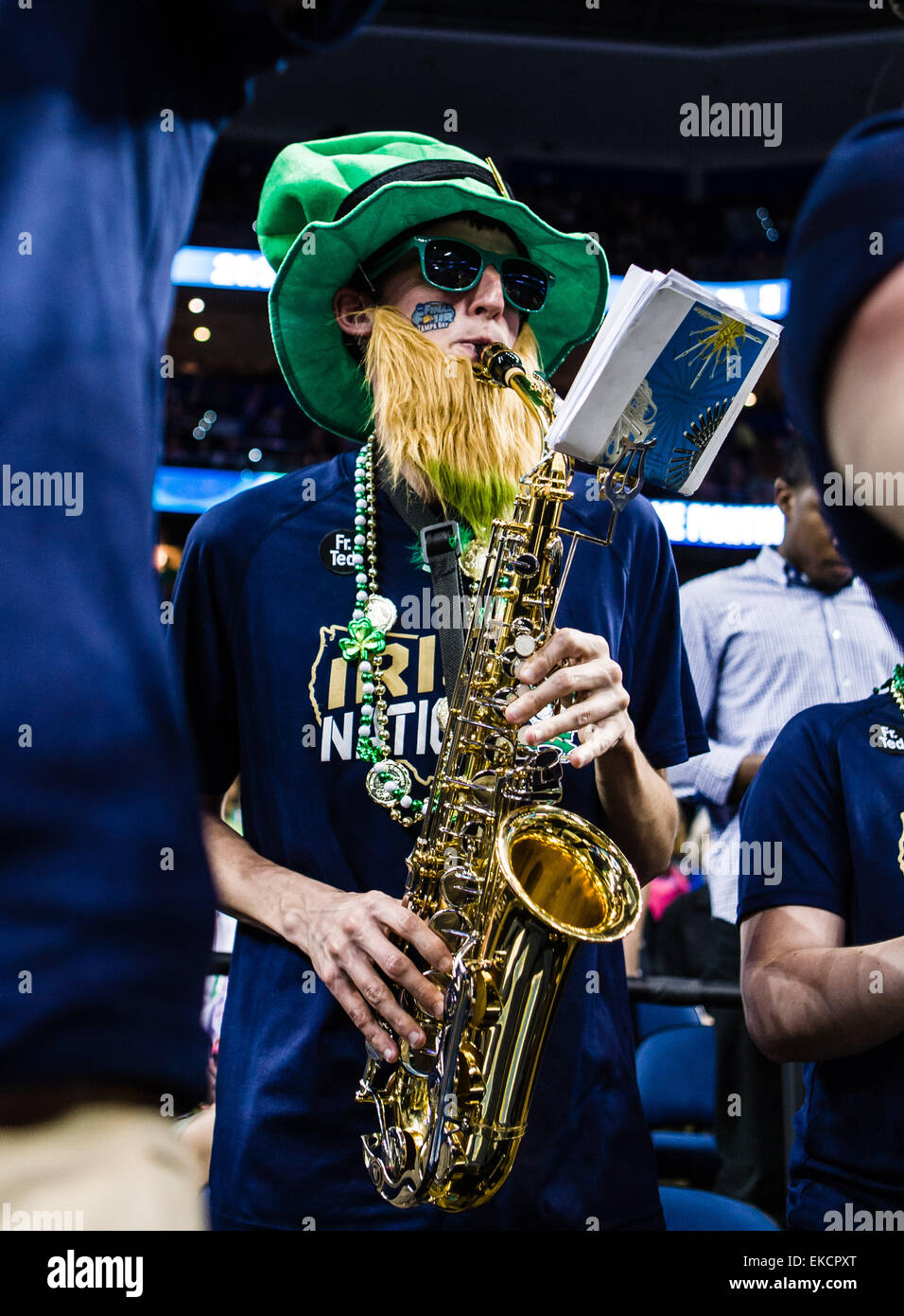 April 7, 2015 - Tampa FL, USA - Pregame shot of a Notre Dame Fighting Irish band member at the NCAA Women's - Stock Image